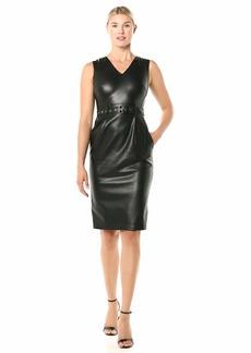 Calvin Klein Women's Sleeveless V-Neck Sheath with Grommet Detailed Belt
