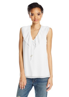 Calvin Klein Women's Sleeveless V-Neck Top with Ruffle Collar  L