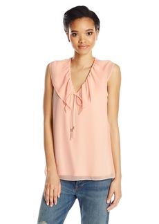 Calvin Klein Women's Sleeveless V-Neck Top with Ruffle Collar  XL