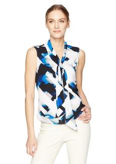 Calvin Klein Women's Sleeveless Woven Tie Neck in Print  S