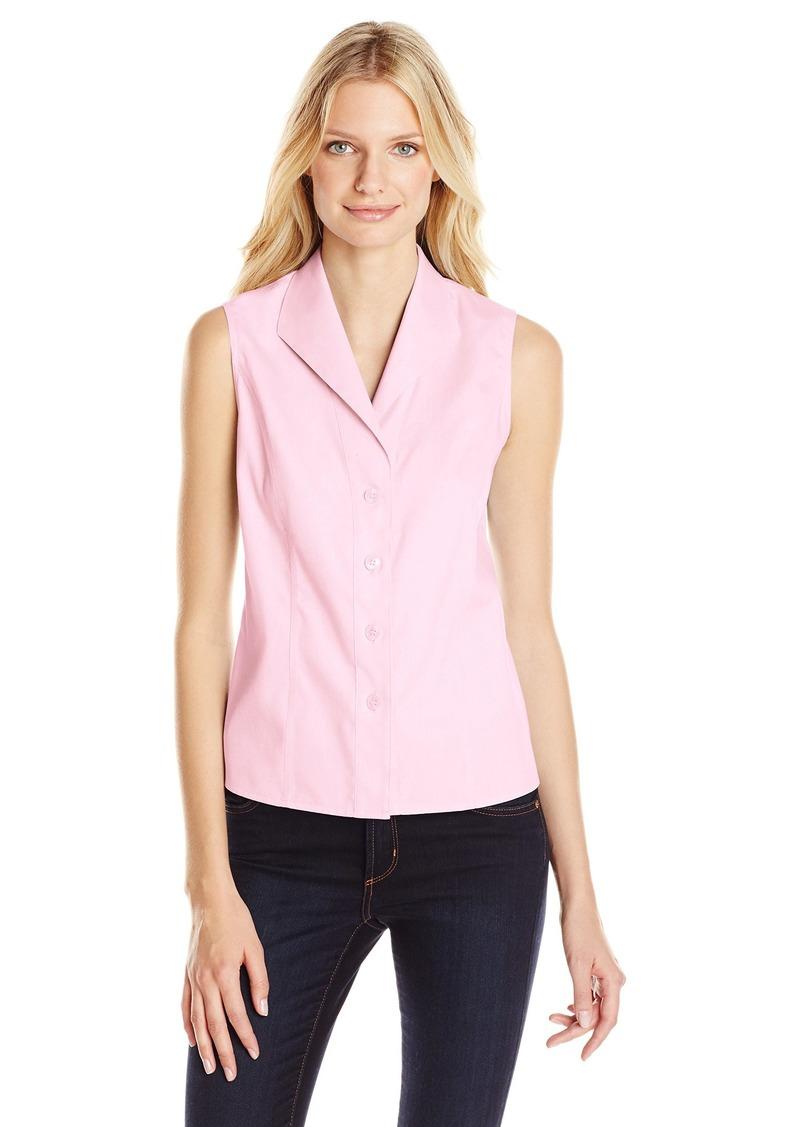 Calvin Klein Women's Sleeveless Wrinkle Free Button Down Shirt