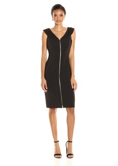 Calvin Klein Women's Sleeveless Zipper Front Sheath Dress with Sailor Collar