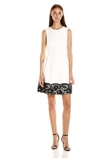 Calvin Klein Women's Sleevelss Fit and Flare Dress with Lace at Hem