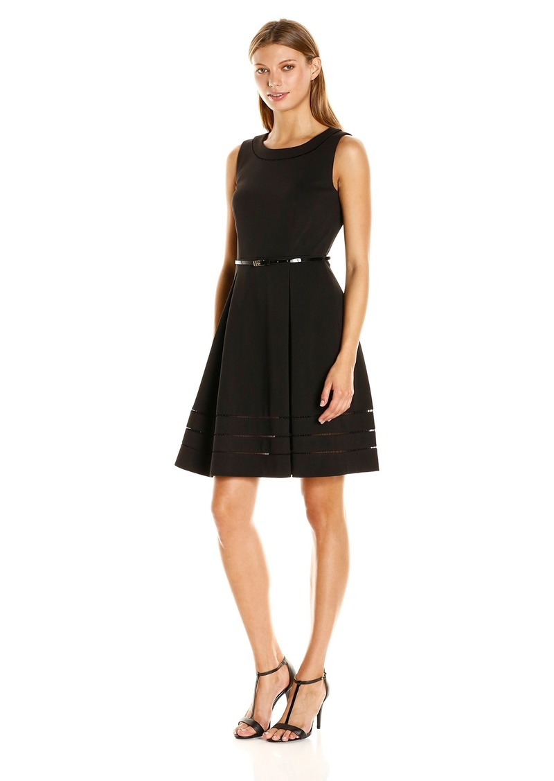 Calvin Klein Women's Sleevelss Fit and Flares Belted Dress Black