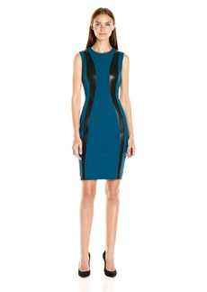 Calvin Klein Women's Sleevelss Suede Mix Sheath Dress