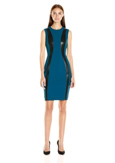 Calvin Klein Women's Sleevelss Suede Mix Sheath Dress CYP/Black