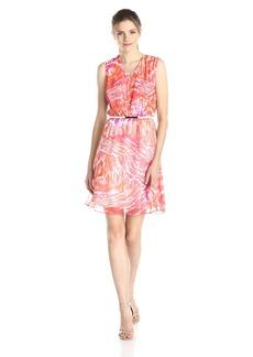 Calvin Klein Women's Sleevless V Neck Printed Chiffon Dress with Belt