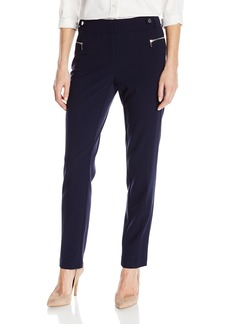 Calvin Klein Women's Slim Fit Dress Pant With Zipper Hardware