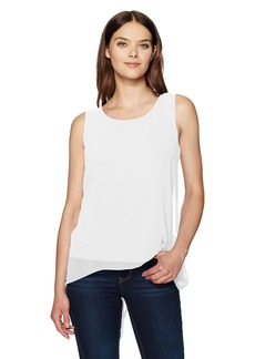 Calvin Klein Women's Slit Back Top with Chiffon Overlay  L