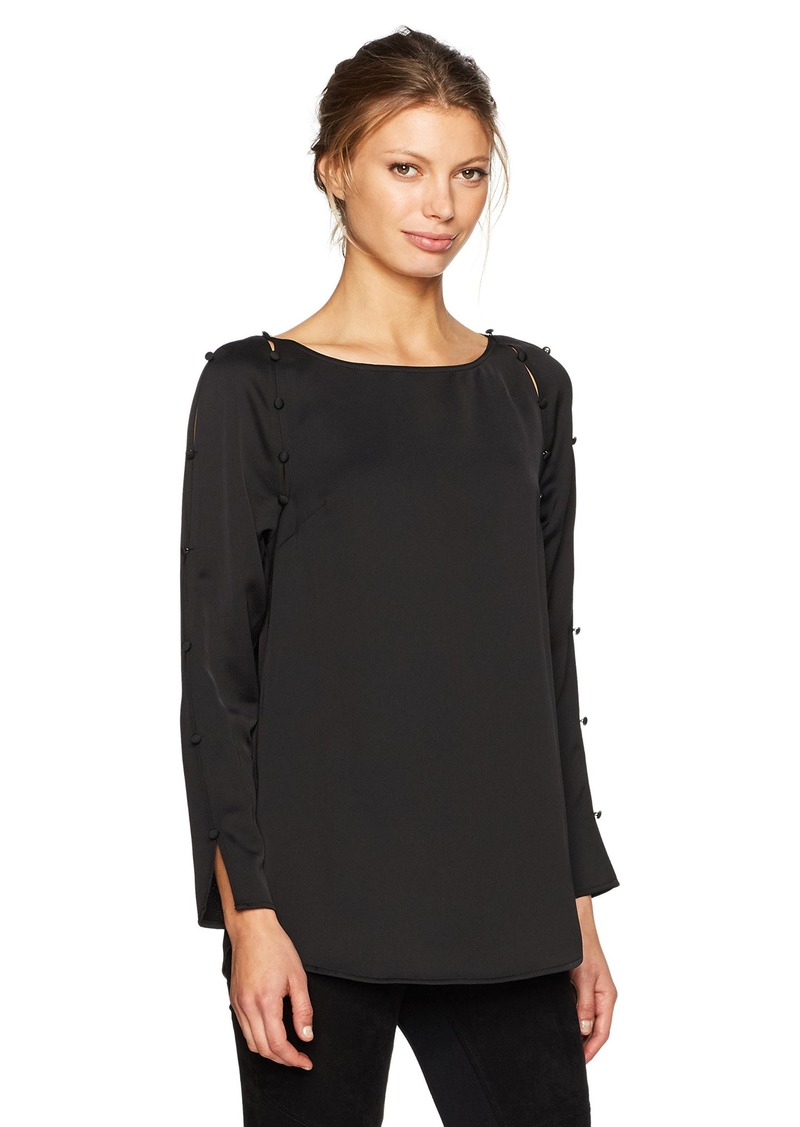 Calvin Klein Women's Slit Sleeve Blouse with Buttons  L