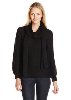 Calvin Klein Women's Slub Yarn Sweater with Scarf