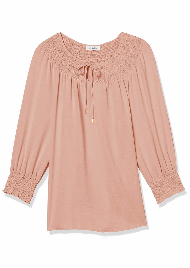 Calvin Klein Women's Smocked Long Sleeve Blouse with Tie