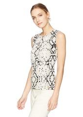 Calvin Klein Women's Snakeskin Print Pleat Neck Cami  S