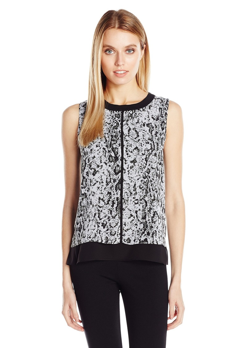 Calvin Klein Women's Snakeskin Top with Piping  XL
