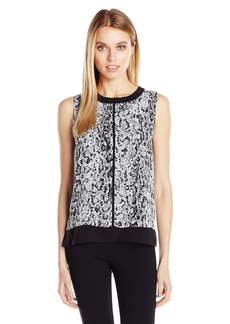 Calvin Klein Women's Snakeskin Top with Piping  XS