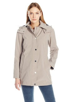 Calvin Klein Women's Soft Shell Single Breasted Rain Trench Coat with Mesh Lining  L