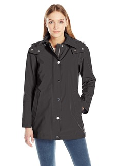 Calvin Klein Women's Soft Shell Single Breasted Rain Trench Coat with Mesh Lining  M