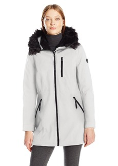 Calvin Klein Women's Softshell Anorak Jacket Lining and Faux Fur Trimmed Hood  L