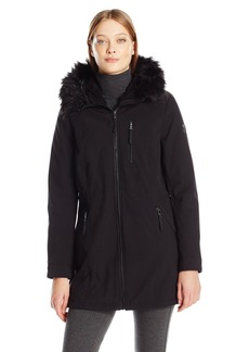 Calvin Klein Women's Softshell Anorak Jacket Lining and Faux Fur Trimmed Hood  XS