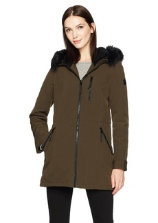 Calvin Klein Women's Softshell Stretch Anorak Jacket with Faux Fur Trimmed Hood  L