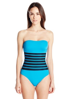 Calvin Klein Women's Solid Bandeau One Piece Swimsuit with Mesh Insert