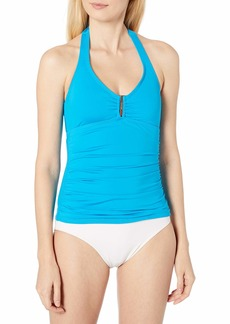 Calvin Klein Women's Solid Bar Halter Swimsuit Tankini Top with Removable Soft Cups