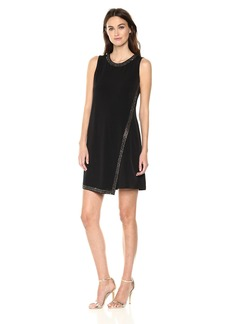 Calvin Klein Women's Solid Dress with Front Over Lay
