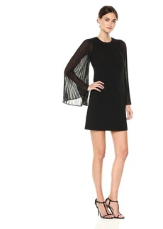 Calvin Klein Women's Solid Dress with Pleated Sleeves