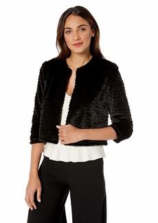 Calvin Klein Women's Solid Faux Fur Shrug deep Black