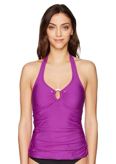 Calvin Klein Women's Solid Halter Tankini Swimsuit with Removable Soft Cups