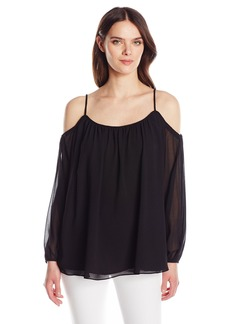 Calvin Klein Women's Solid Long Sleeve Off The Shoulder Top  S