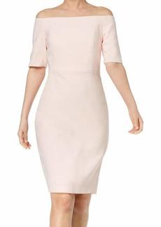 Calvin Klein Women's Solid Off The Shoulder Sheath Dress