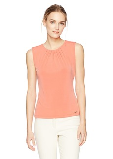 Calvin Klein Women's Solid Pleat Neck Cami  XL