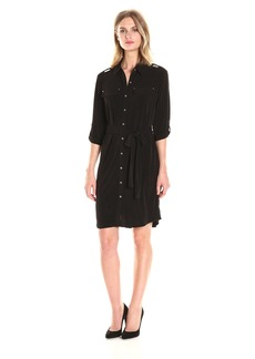 Calvin Klein Women's Solid Roll Sleeve Dress  XL