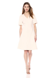 Calvin Klein Women's Solid Scuba Short Sleeved A Line Dress
