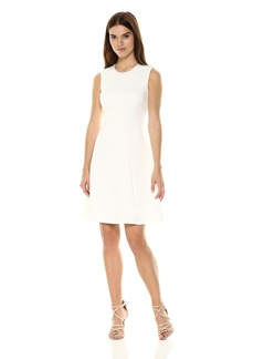 Calvin Klein Women's Solid Seamed Fit and Flare Dress