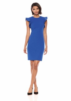 Calvin Klein Women's Solid Sheath with Ruffle Cap Sleeve
