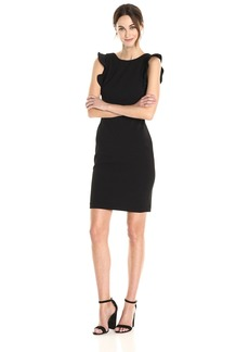Calvin Klein Women's Solid Sheath With Ruffle Dress