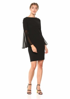 00fe99cd Calvin Klein Women's Solid Sheath with Sheer Bell Sleeve Dress