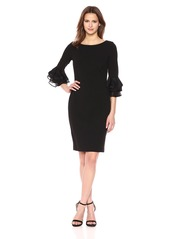 Calvin Klein Women's Solid Sheath with Three Quarter Chiffon Bell Sleeve Dress