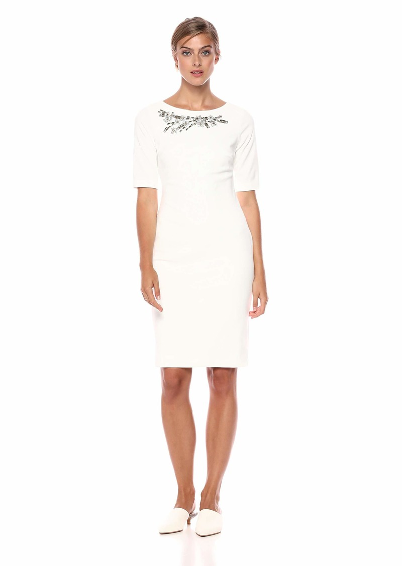 Calvin Klein Women's Solid Short Sleeve Sheath with Embellishment