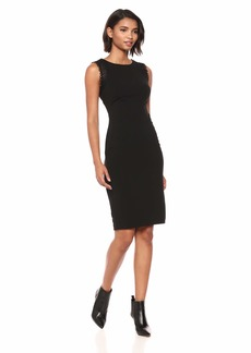 Calvin Klein Women's Solid Sleeveless Sheath with Lace Trim Black