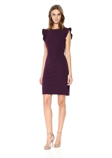 Calvin Klein Women's Solid Sleeveless Sheath with Ruffle
