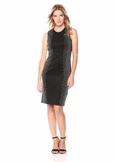 Calvin Klein Women's Solid Sleeveless Sheath with Side Embellishment Dress