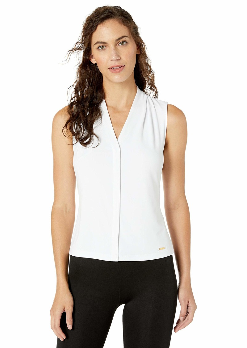 Calvin Klein Women's Solid Sleeveless V-Neck Cami (Petite and Standard)