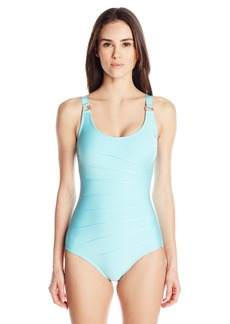 Calvin Klein Women's Solid Starburst One Piece Swimsuit