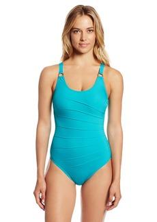 Calvin Klein Women's Solid Starburst Underwire Maillot One Piece Swimsuit