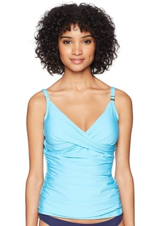 Calvin Klein Women's Solid Tankini Swimsuit Adjustable Straps Tummy Control