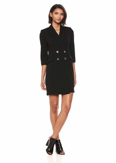 Calvin Klein Women's Solid Three Quarter Sleeve Coat Dress