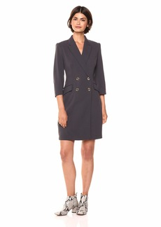 Calvin Klein Women's Solid Three Quarter Sleeve Coat Dress